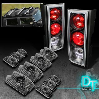 03 05 Hummer H2 SUV Black Tail Lights Cab Head Upper Roof Smoke Running Lamps