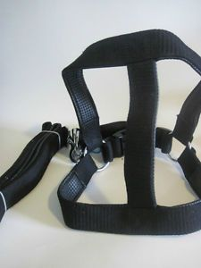 Heavy Duty XL Step in Black Nylon Dog Harness Padded Leash Set Pit Bully Boxer