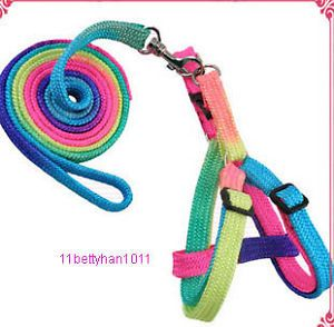 Small Pet Dog Cat Colorful Leash Lead Harness