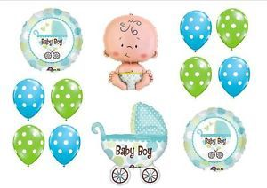 Baby Boy Buggy Carriage Shower Balloons Decorations