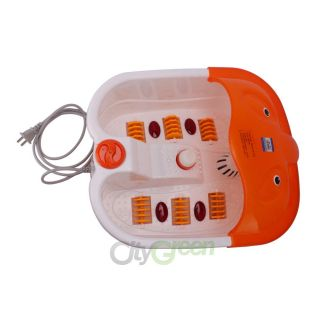 New Pro Foot Relaxing Foot Bath Spa Massager Health Care White and Orange 3681