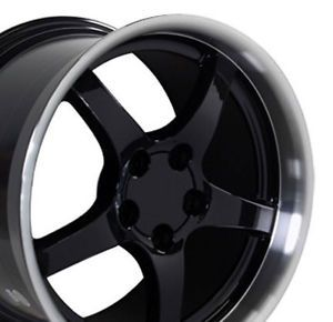 "18"" 19"" 9 5 10 Black C5 Deep Dish Wheels Rims Fit Corvette"