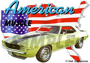 1969 Yellow Chevy Camaro Z28 Custom Hot Rod USA T Shirt 69 Muscle Car Tee'S