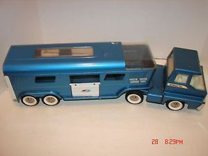 Vintage Structo Vista Dome Horse Van Truck Trailer Semi Farm Toy Blue Turbine