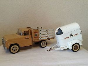 Vintage 1960s Tonka Farm Stake Truck and Horse Trailer