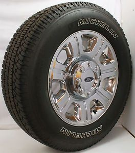 "2013 Ford F250 F350 Super Duty 20"" Chrome Clad Factory Wheels Michelin Tires"