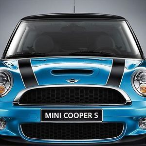 Mini Cooper Base Hardtop Coupe 2007 2010 Bonnet Hood Stripes Set Black