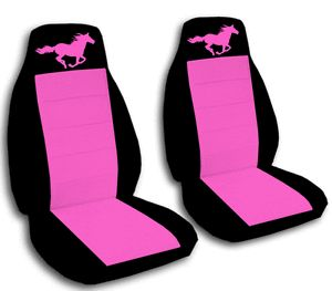 Cool Set Ford Mustang Horse Black Hot Pink Front Car Seat Covers Back Seat Avbl