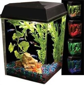 Aquarius 2 1 2 Gallon Tank Aquarium Kit Full Hood LED Lights New Leak Proof