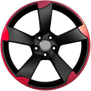 "18"" RS3 Style Matte Black Machined Red Wheels Rims Fit Audi TT MKII 45 Offset"