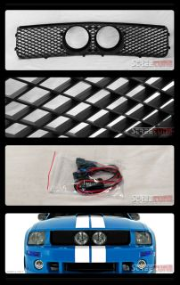 Black Mesh Front Hood Bumper Grill Grille Fog Lights Hole 05 09 Ford Mustang GT
