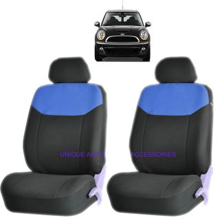Mini Cooper Blue Elegant Airbag Compatible Front Lowback Seat Cover Set