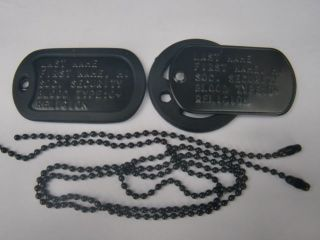 Black Dog Tags Military ID Custom Embossed Made w Your Information Tag Dogtags
