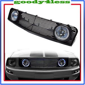 05 09 Ford Mustang V6 Hood Horizontal Grill Grille w Halo Fog Lamps Switch Light