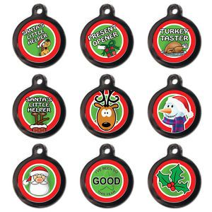 Fun Cute Christmas Festive Pet Dog Cat Name ID Tag for Collar Various Designs