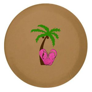 Jeep SUV Spare Tire Cover 33 inch Glitter Flip Flops Palm Tree Spice