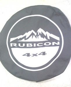 "O E M Jeep Wrangler Black Rubicon Spare Tire Cover for 17"" Wheels"