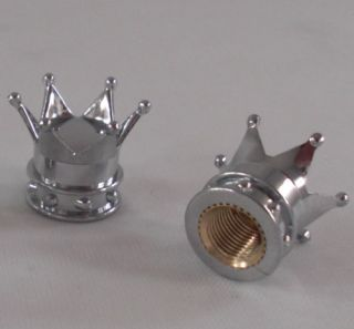 "2 Chrome ""Crown"" Custom Valve Stem Caps Motorcycle Truck Car Wheel Tire Rims"