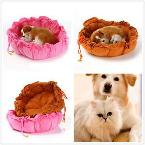 New Brown Pink Pumpkin Soft Pet Dog Cat Indoor House Nest Kennel for Small Dog