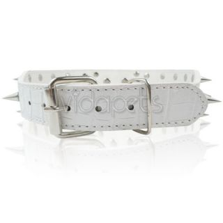 "18 22"" White Leather Spiked Dog Collar Pitbull Bully Boxer Spikes Large L"