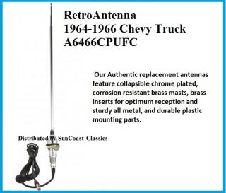 1964 1966 Chevy Truck GMC Am FM Retro Antenna for Stereo Radio
