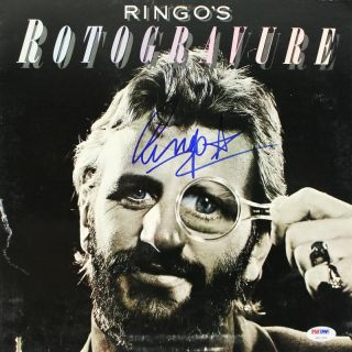 RINGO STARR ROTOGRAVURE SIGNED ALBUM COVER W VINYL THE BEATLES PSA DNA U01339