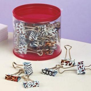 Wholesale Lot 50 Assorted Binder Clips Animal Zebra Leopard Print in Jar