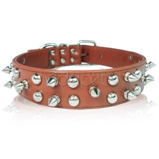 Spiked Studded Leather Dog Collar Spikes M L XL