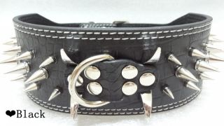 3inch Wide Black Leather Spiked Horn Dog Collars Suitable for Large Dogs Pitbull
