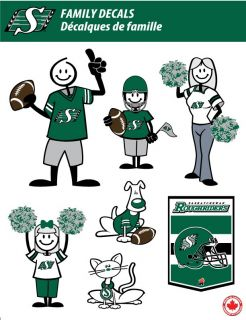 Saskatchewan Roughriders Stick People Family Decals Full Color Vinyl Decals