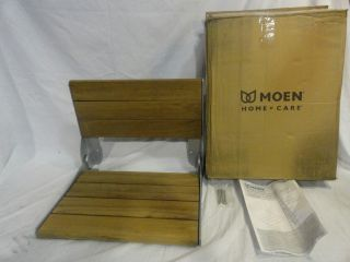 Moen Home Care Wall Mount Fold Down Shower Seat Aluminum Water Resistant Teak