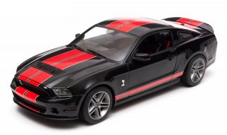 Greenlight 2011 Ford Shelby GT500 Black w Red Stripes Diecast Car 1 18 12825