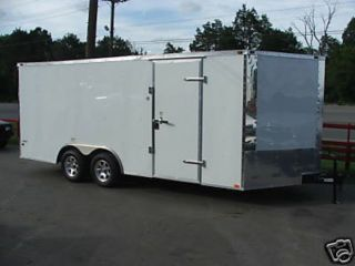 Enclosed Trailer 8 5'x18' White Motorcycle Car Equipment Hauler