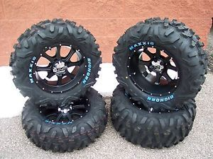 "26"" Yamaha Rhino Bighorn ATV Tire 14"" SS 108 Blk Wheel Kit Lifetime Warranty"