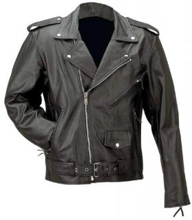 Mens Classic Solid Black Leather Motorcycle Jacket New