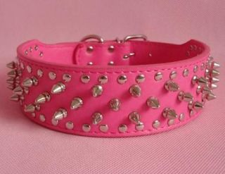 New Leather Spiked Studded Dog Collar Large Dog Pitbull Mastiff Bully Hot Pink S