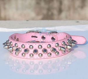 Pink Spiked Studded Cool Rivets Soft PU Leather Dog Pet Puppy Collars Size M