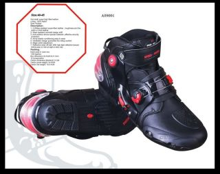 Pro Biker Motorcycle Racing Boots Sport Icon Bike Boot Shoe Black Size 40 45
