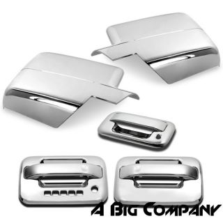 04 08 Ford F150 Chrome Mirror Tailgate Door Handle Covers with Keypad Combo