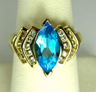 14k Yellow Gold Ring London Blue Topaz Marquise Accent CZ Size 6 3 4