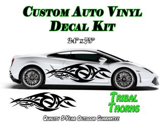 Custom Tribal Thorns Vinyl Sticker Decal Kit Car Truck Door Flames Lasts 5 Yrs