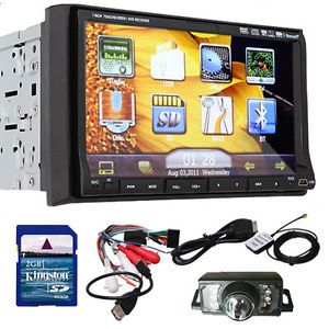 New 7 HD LCD Double DIN Car GPS Stereo DVD Player Touch Screen Bluetooth Camera
