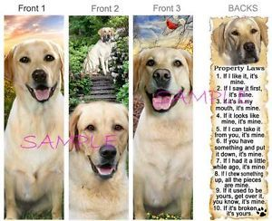 3 Labrador Retriever Bookmark Yellow Lab Dog Rules Property Law Book Mark Card