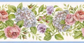 Wallpaper Border Pink Roses Purple Pansies Blue Hydrangeas with Blue Trim