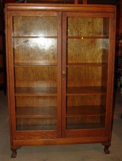 Oak Double Door Bookcase Wavy Glass Display Cabinet Show Mission Office Library