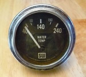 Vtg SW Stewart Warner Water Temperature Gauge 412356 Temp Hot Rat Rod Gasser