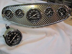 Vintage Stewart Warner Gauges and Panel 160 MPH Speedometer and 8K Tachometer