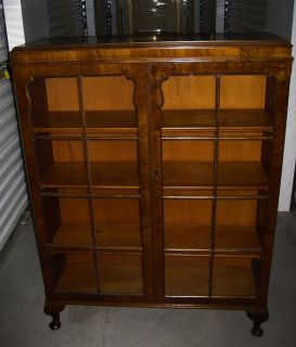Antique English Burl Walnut Queen Anne Curio Glass Display Cabinet Bookcase