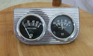 Cool Vintage Stewart Warner Gauge Pod Oil Pressure Ampres Rod Custom Speed
