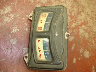 Vintage Stewart Warner Amp Gas Gauge Cluster Red on White Ratrod